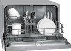 Bomann TSG 707 Tischgeschirrspüler / A+ / 174 kWh/Jahr / 1960 Liter/Jahr / 6 MGD / 55 dB / 6 Maßgedecke / Elektronische Programmsteuerung / klappbare Gläser- und Tellerhalter / silber / 55 cm