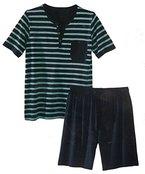 Herren Shorty Schlafanzug Pyjama Nachtwäsche Short + Shirt kurz M L XL XXL *PLT (XL 56 58, Gestreift)