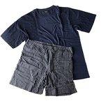 Herren Pyjama Shorty T-Shirt mit Shorts für den kräftigen Mann in 2 Farbvariationen Größen XXL - 5XL (4XL, Navy Blau)