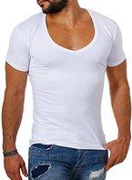 Young & Rich / Rerock Herren Uni T-Shirt mit extra tiefem V-Ausschnitt slimfit deep V-Neck stretch dehnbar einfarbiges Basic Shirt 1315 , Grösse:M;Farbe:Weiß