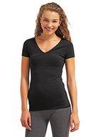 Tshirt Damen Kurzarm - Schwarz - V-Ausschnitt T-Shirt Top ★ Style Room ★ Frauen-Top für Freizeit Fitness Sport, Größe M